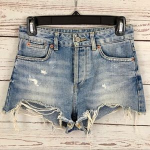 TopShop Moto High Rise Light Wash Jean Shorts